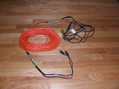 ... pictures of the zip cords and finished two channel extension cord